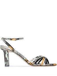 AEYDE Annabella 75mm snake-print leather sandals