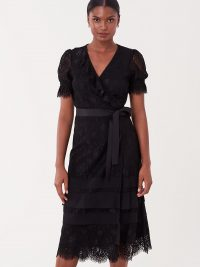 Diane von Furstenberg Alena Floral Lace Midi Wrap Dress in Black / DVF lbd