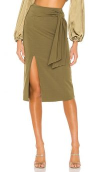 Alice + Olivia Riva Slit Midi Skirt in Olive
