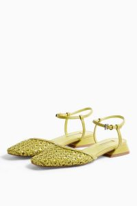 TOPSHOP ALICIA Green Woven Ankle Tie Shoes / ankle strap flats