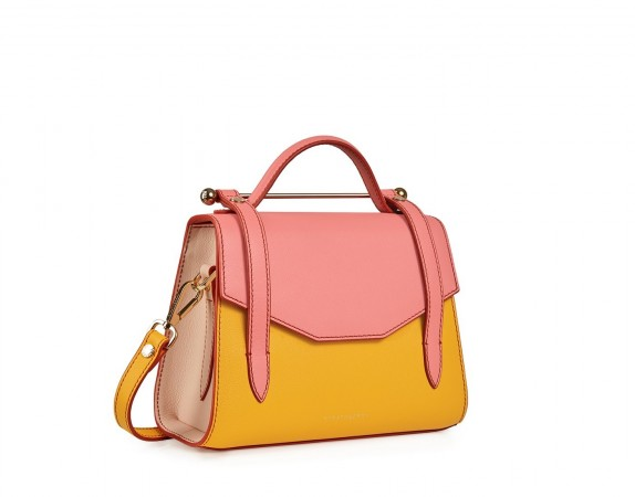 STRATHBERRY ALLEGRO MINI BLOSSOM YELLOW/SALMON/SOFT PINK ~ sunny colourblock handbag