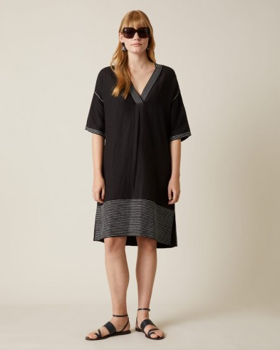 Jigsaw AMBA LINEN MIX KAFTAN DRESS Black / loose fit summer dresses