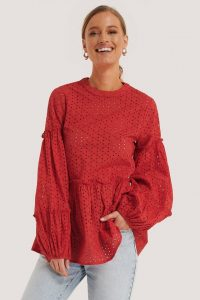 NA-KD Red Anglaise Balloon Sleeve Frill Blouse