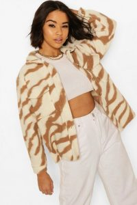 boohoo Animal Print Boxy Shacket ~ brown shackets