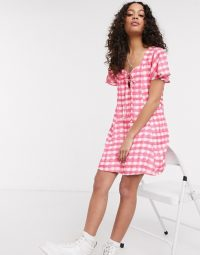 Another Reason tie front smock dress in pink check – summer dresses