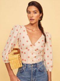REFORMATION Anton Top in Andie ~ cute spot print blouse