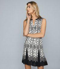 REISS ANTONIA PRINTED MINI DRESS BLACK ~ sleeveless waist tie dresses