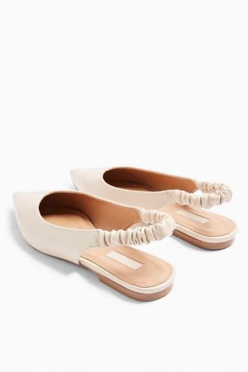 Topshop APPLE Ecru Ruched Slingback Shoes