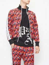 PALM ANGELS Arm-stripe flame-print jersey track jacket / men's casual clothing