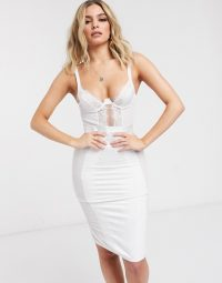 ASOS DESIGN Bridal Marcia underwire shaping slip dress with lace & mesh in white