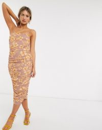 ASOS DESIGN cami floral ruched mesh midi dress / skinny strap dresses