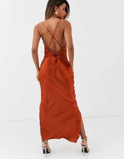ASOS DESIGN cami maxi slip dress in high shine satin with lace up back – strappy dresses - flipped