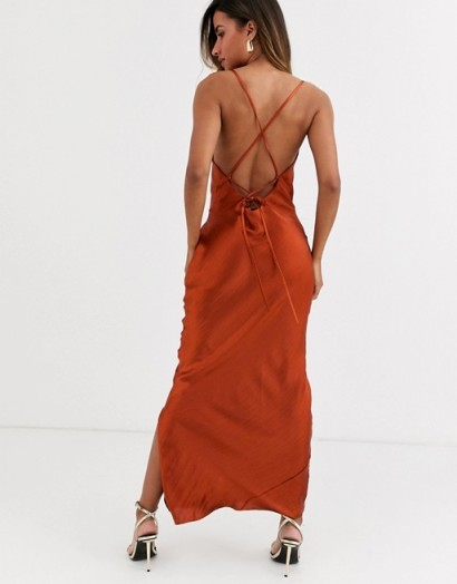 ASOS DESIGN cami maxi slip dress in high shine satin with lace up back – strappy dresses