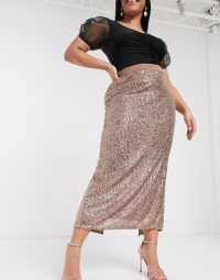 ASOS DESIGN Curve sequin pencil midi skirt in bronze – shimmering plus size skirts