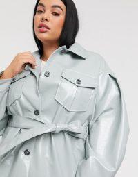 ASOS DESIGN Curve vinyl tie waist jacket in cornflower blue – plus size outerwear
