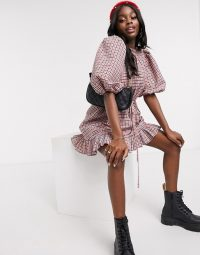 ASOS DESIGN high neck mini smock dress with drawstring waist in gingham