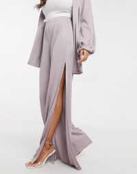 ASOS DESIGN jersey rib side split suit wide leg trousers
