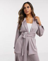 ASOS DESIGN jersey rib wrap suit blazer in lilac