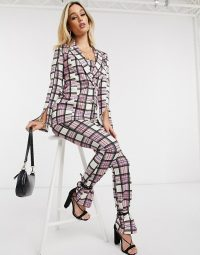 ASOS DESIGN jersey suit in sorbet check / checked trouser suits