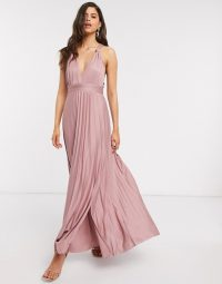 ASOS DESIGN knot strap pleated maxi dress in rose