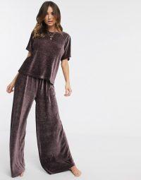 ASOS DESIGN lounge plisse velvet trouser & tee in maroon