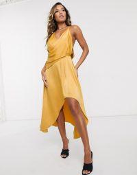 ASOS DESIGN minimal drape satin midi dress in gold