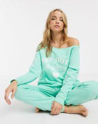 ASOS DESIGN off duty off shoulder sweat & jogger set in mint ~ green slogan lounge sets