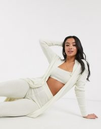 ASOS DESIGN Petite exclusive lounge 3 piece set cami trouser and cardigan in cream