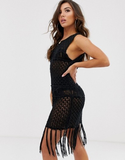 ASOS DESIGN premium fringed hand crochet mini dress – lbd