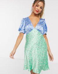 ASOS DESIGN satin mini tea dress in mixed floral print