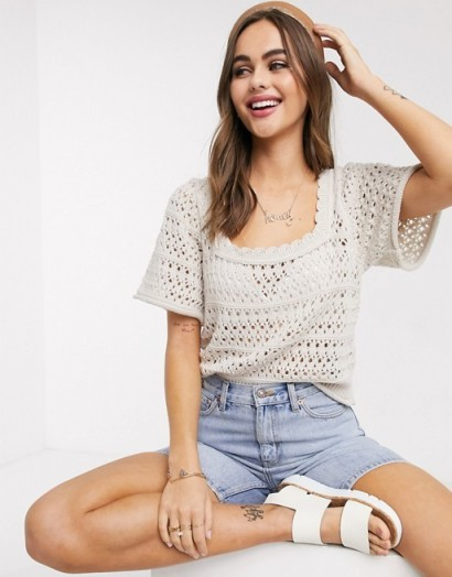 ASOS DESIGN square neck crochet top in stone