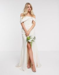 ASOS EDITION bardot drape wrap wedding dress in soft apricot / draped off the shoulder bridal gown