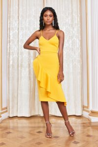 Lavish Alice asymmetric ruffle scuba midi dress in golden yellow – skinny strap evening dresses
