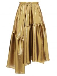 ROCHAS Asymmetric tiered lamé midi skirt in gold