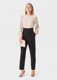 HOBBS AUBREE JUMPSUIT BLUSH BLACK / ruffle trim jumpsuits