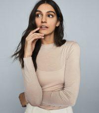 REISS AURELLIE SEMI-SHEER SLIM-FIT TOP NEUTRAL ~ wardrobe essential