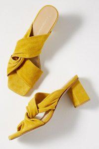 ANTHROPOLOGIE Twisted-Strap Suede Heels in Dark Yellow