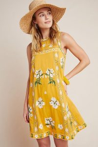Yellow floral dress – Maeve Joey Embroidered Swing Dress