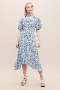 Ghost London Jenna Midi Dress Light Blue