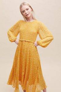 Ghost London Margaux Leopard-Print Dress Sun Yellow