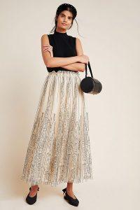 Geisha Designs Cityscape Tulle Maxi Skirt Neutral Motif