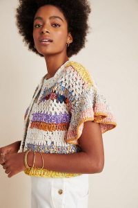 Anthropologie Mia Cropped Cardigan | multicoloured knits