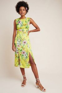 Anthropologie Sparrow Silky Midi Dress in Yellow Motif | spring dresses