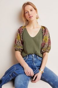 Maeve Bridey Embroidered Top in Moss