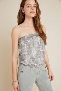 Anthropologie Maiah Shimmer Tube Top in Silver / shiny bandeau tops