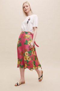 Bailey & Buetow Eve Floral-Print Wrap Skirt Medium Pink