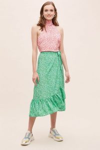 Primrose Park Animal Print Wrap Skirt Green Motif