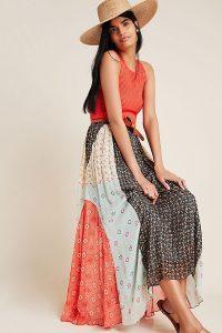 Verb by Pallavi Singhee Margot Pleated Maxi Skirt | mixed print skirts