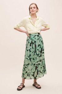 5preview Dextra Leaf-Print Skirt Green Motif