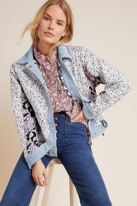 Anthropologie Quilted Reversible Denim-Trimmed Patchwork Jacket
